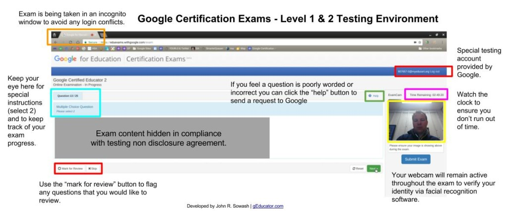 Google Educator Exam Interface